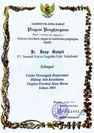 The Best of UMKM Award from Governor of West Java
